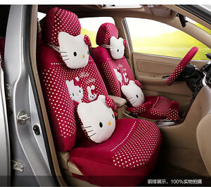 20 Piece Rosy Pink Polka Dot Pretty Hello Kitty And Bunny Car Seat Covers