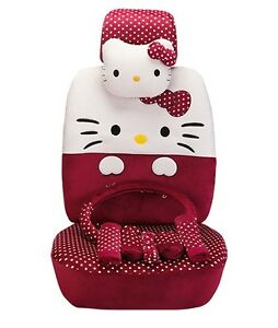 19 Piece Deep Red Polka Dot Big Face Hello Kitty Car Seat Covers