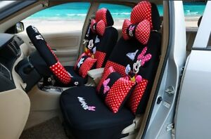 Happy Mickey And Minnie Red black Polka Dot Car Seat Covers