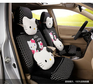 20 Piece Black white Polka Dot Pretty Hello Kitty And Bunny Car Seat Covers