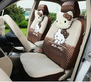 18 Piece Ice Silk Brown Polka Dot Hello Kitty Car Seat Covers