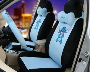 18 Piece Stitch Car Seat Covers Black Blue