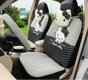 18 Piece Ice Silk Black And White Polka Dot Hello Kitty Car Seat Covers