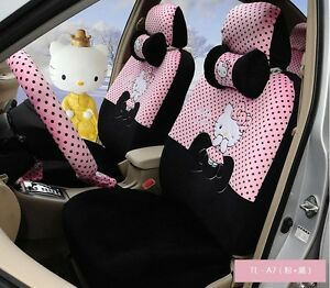 18 Piece Black Pink Hello Kitty Little Bow Car Seat Covers