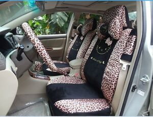 18 Piece Black Leopard Hello Kitty Car Seat Covers