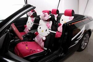 12 Piece Rose Red Hello Kitty Fluffy Winter Car Seat Covers