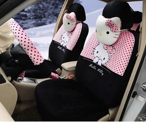 18 Piece Black And Baby Pink Polka Dot Hello Kitty Car Seat Covers