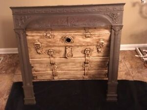 Vintage Cast Iron Fireplace Surround Sea Nymph And Cherubs 30 3 8 Wide