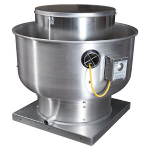 Restaurant Hood Upblast Exhaust Fan 6600 Cfm 24 Wheel 33 X 33 Base