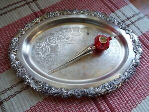 Vintage Silver Plate Reed Barton Serving Platter Tray Burgundy Floral Pattern