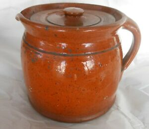 Great Early American Redware Stew Pot With Cover Good Glaze Great Condition