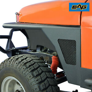 Eag 76 86 Jeep Wrangler Cj7 Front Fender Flares With Wire Mesh Steel Tube