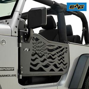07 18 Jeep Wrangler Jk 2dr Tube Doors Us Flag Steel Black With Side Mirrors