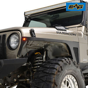 Eag Front Fender Flare With Led Eagle Light Armor For 1997 2006 Jeep Wrangler Tj