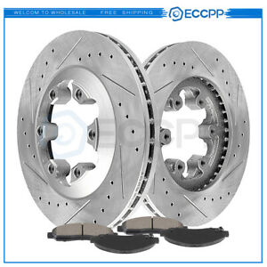 Front Disc Brake Rotors And Ceramic Pads For Chevy Colorado 2004 2008 Drill Slot