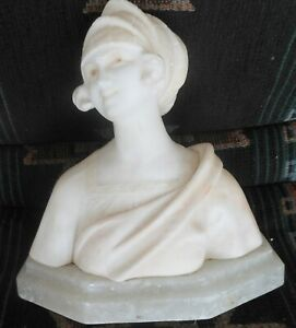Lovely Antique Marble Sculpture Figure Of A Girl With Hat