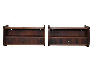 Danish Rosewood Floating Shelves Night Stands