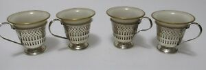 4 Sterling Pierced Demitasse Cups With Lenox Liners Cream Gold Trim Excelsior