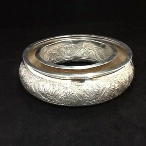 Ornate Antique Solid Coin Silver Arabic Repousse Pansie Bowl Pansy Dish Signed