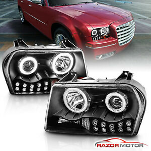 Dual Ccfl Halo 2005 2010 Chrysler 300 Black Led Drl Projector Headlights Pair