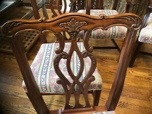 Hickory Chair Co Solid Mahogany Set Of 6 Chippendale Dining Chairs