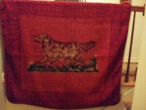Early 20th Century Antique Lap Robe Retriver Dog Sleigh Carriage Blanket