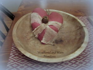 Primitive Aged Red Felt Valentine Heart Stained Cheesecloth Rusty Bell 7 H