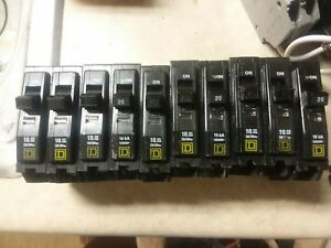 lot Of 10 Square D Type Qo Circuit Breaker 20 Amp 1 pole 120 240v