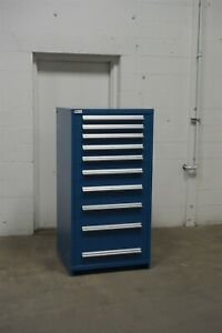 Used Vidmar 10 Drawer Modular Cabinet Industrial Tool Storage 1651 Blue