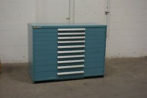 Used Vidmar 10 Drawer Double Wide 44 Tall Cabinet Industrial Tool Storage 1640
