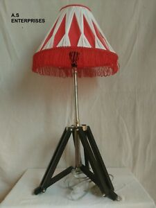 Antique Vintage Style Nautical Adjustable Led Surveyor S Tripod Table Shade Lamp