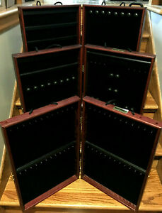 3 Showcases To Go Portable Jewelry Vendor Display Cases Hinged Wooden