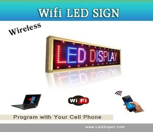 Led Sign Wifi Programmable Digital Message Sign Play Time Temp 15 X 40