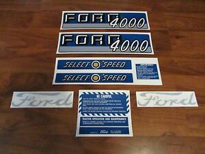 Ford Tractor Decal Set 4000 Select O Speed With Caution Stickers 1115 1550
