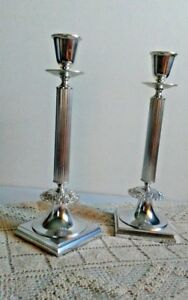 Antique Candlestick Pair Silver Plate Column Gorham Electroplate 12 1 2 Nice