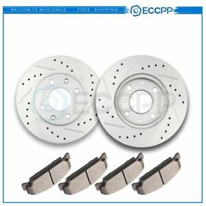 Front Discs Brake Rotors And Ceramic Pads For Honda Civic Coupe 1993 2000 Drill