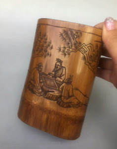 15cm Chinese Natural Bamboo Wood Hand Carved Tree Brush Pot Sculpture Qqqq