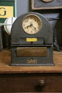 Vintage Simplex Time Recorder Clock Face Old Antique Table Top Time Card Punch