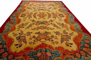 Antique Islamic Art Qajar Signed Dated Persian Royal Large Carpet 1251 Kashan