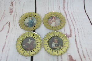 4 Vintage Round Metal Framed Prints Pinkie Blue Boy Miss Bowles The Red Boy 50s