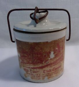 Antique Old Tavern Club Cheese 1 5 Pound Crock W Lid Metal Clasp