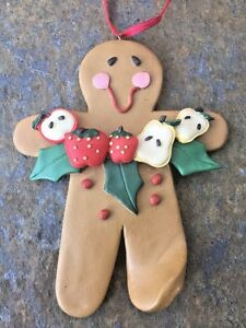 Antique Primitive Clay Dough Gingerbread Man Apple Fruit Holly Ornament Ornie