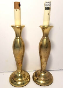 Vintage Stiffel Solid Brass Candlestick Lamps A Pair