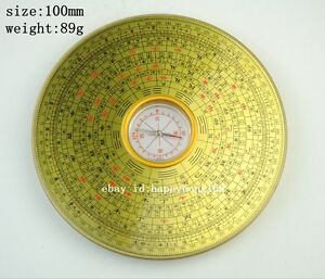 Chinese Manual Sculpture Copper Yin And Yang Gossip Feng Shui Compass