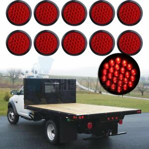 10pcs 4 24 Led Side Marker Tail Lights Trailer Universal Lamps Round Red 24v