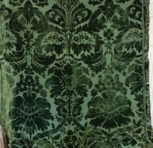 Antique Forest Green Victorian French Cotton Cut Velvet Fabric Frame 84 X 42
