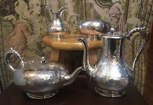 Martin Hall And Co Sterling Silver Coffee And Tea Service 1861 Sheffield 74 Oz