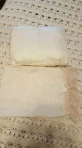 Antique Victorian Silk Baby Pillow And Case W Lace
