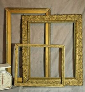 21 X 17 Gold Lot Vtg Assorted Open Picture Painting Wedding Wood Frames Antique