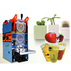220v 300cups h Electric Plastic Drink Tea Cups Sealer Sealing Machine